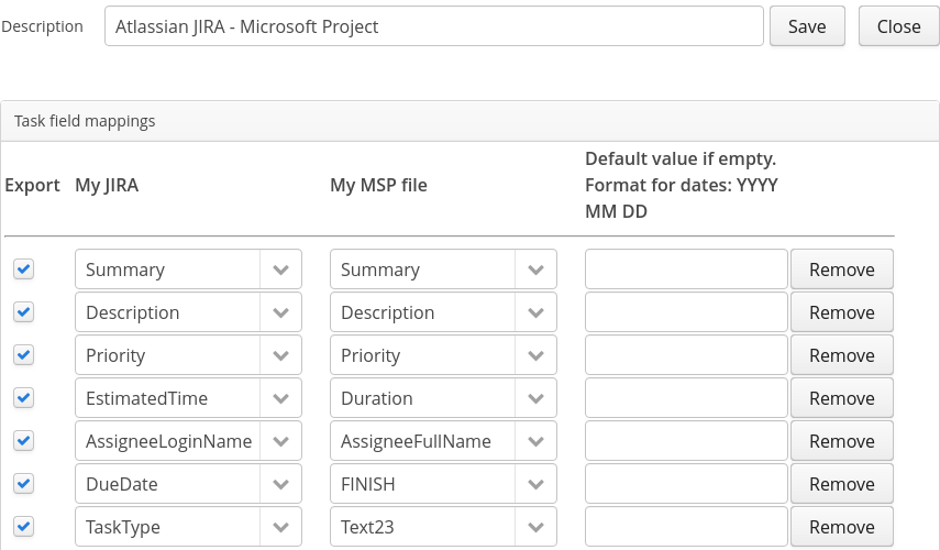 Edit config for Atlassian JIRA and Microsoft Project