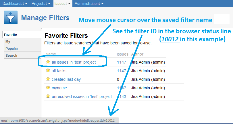 Atlassian JIRA saved filters