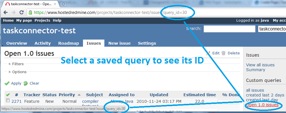 find saved query ID in Redmine